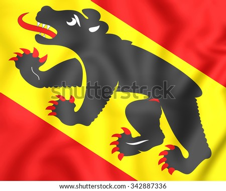 3D Flag of Bern Canton, Switzerland. Close Up. - stock photo