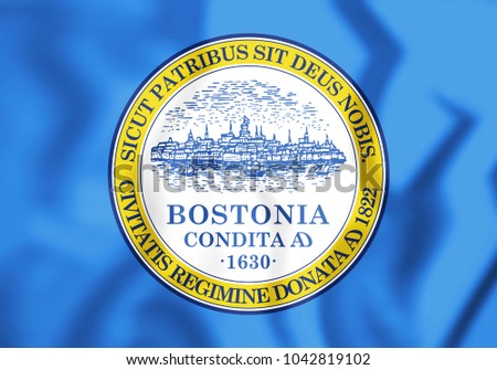 3D Flag of Boston, USA. 3D Illustration.