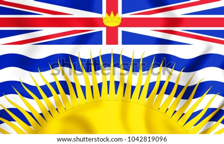 3D Flag of British Columbia, Canada. 3D Illustration.