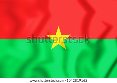 3D Flag of Burkina Faso. 3D Illustration.