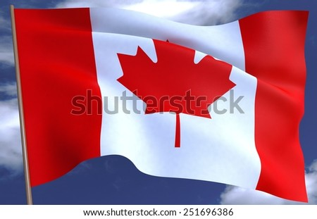 3D Flag of Canada against the sky - stock photo