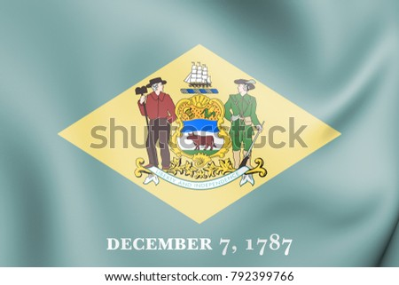 3D Flag of Delaware state, USA. 3D Illustration.