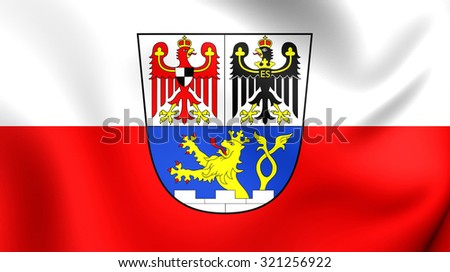 3D Flag of Erlangen City (Middle Franconia), Germany. Close Up.    - stock photo