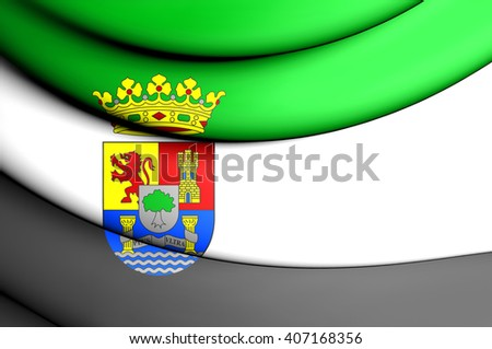3D Flag of Extremadura, Spain. Close Up. - stock photo