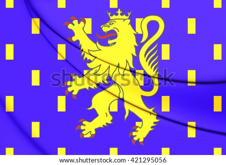 3D Flag of Franche-Comte Region, France. Close Up.   - stock photo