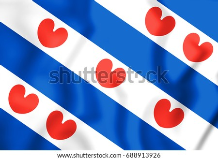 3D Flag of Friesland, Netherlands. 3D Illustration.
