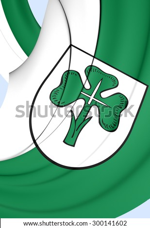 3D Flag of Furth City, Germany. Close Up.    - stock photo