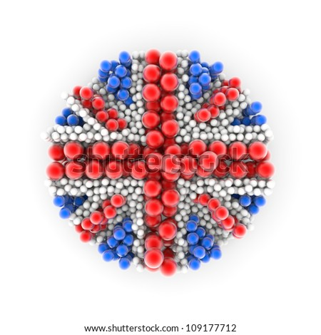 3D flag of Great Britain made from colorful balls