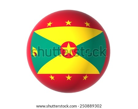 3D flag of Grenada, sphere isolated on white background - stock photo