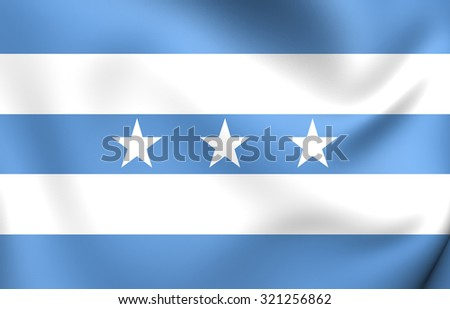 3D Flag of Guayaquil, Ecuador. Close Up.   - stock photo