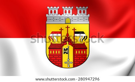 3D Flag of Herford, Germany. Close Up.    - stock photo
