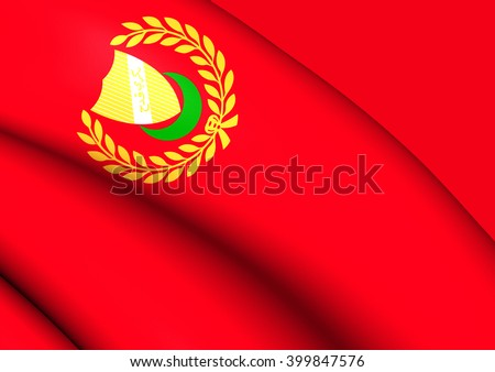 3D Flag of Kedah State, Malaysia. Close Up.    - stock photo