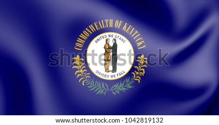3D Flag of Kentucky, USA. 3D Illustration.