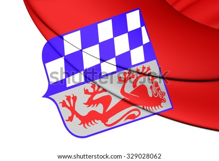 3D Flag of Lower Bavaria Regierungsbezirk, Germany.      - stock photo