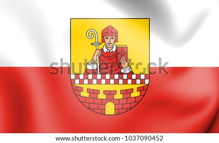 3D Flag of Ludenscheid (North Rhine-Westphalia), Germany. 3D Illustration.