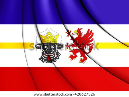 3D Flag of Mecklenburg-Vorpommern, Germany. Close Up. - stock photo