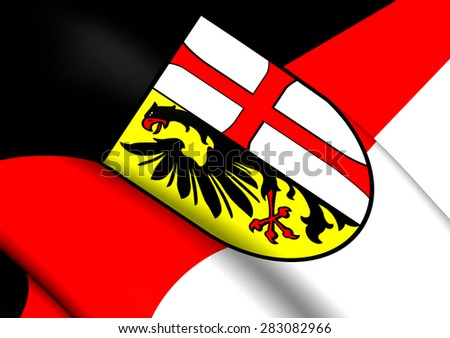 3D Flag of Memmingen, Germany. Close Up. - stock photo