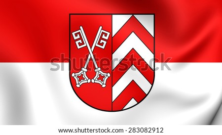 3D Flag of Minden-Lubbecke, Germany. Close Up.    - stock photo
