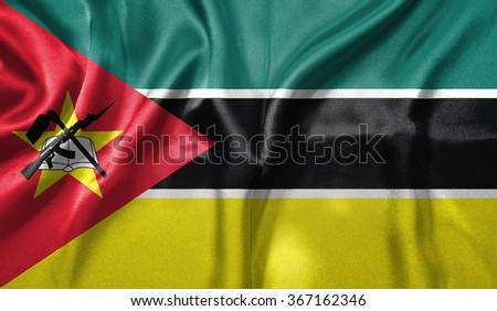 3D Flag of Mozambique - stock photo
