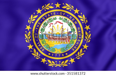 3D Flag of New Hampshire, USA. Close Up. - stock photo