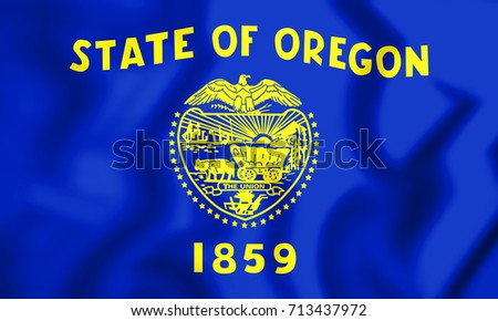 3D Flag of Oregon, USA. 3D Illustration.