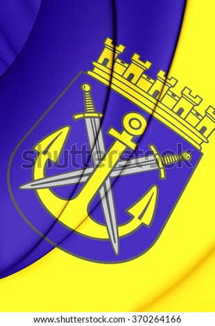 3D Flag of Solingen (North Rhine-Westphalia), Germany.      - stock photo