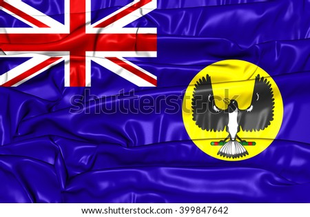 3D Flag of South Australia. Close Up. - stock photo
