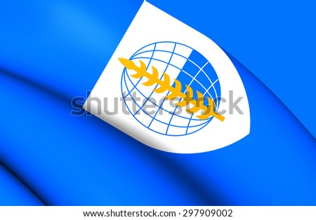 3D Flag of South East Asia Treaty Organization. Close Up. - stock photo