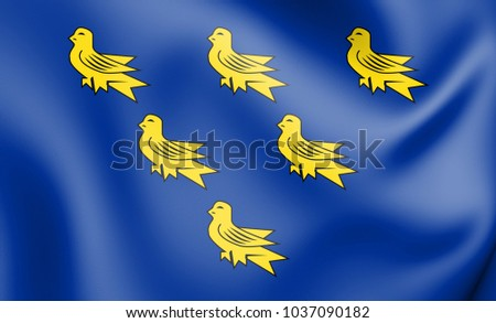3D Flag of Sussex. 3D Illustration.