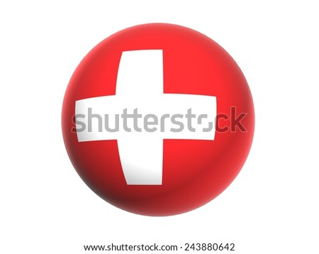 3D flag of Switzerland, sphere isolated on white background - stock photo