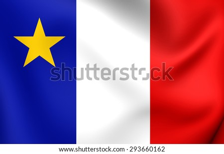 3D Flag of the Acadia, Canada. Close Up. - stock photo