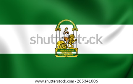 3D Flag of the Andalusia, Spain. Close Up. - stock photo