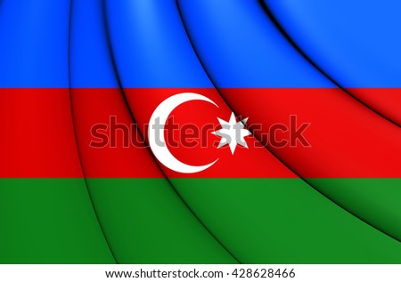 3D Flag of the Azerbaijan. Close Up. - stock photo