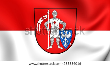 3D Flag of the Bamberg, Germany. Close Up.    - stock photo