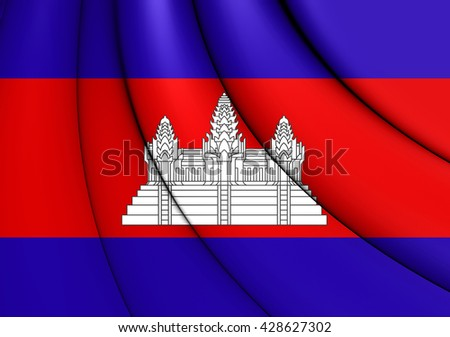 3D Flag of the Cambodia. Close Up.    - stock photo