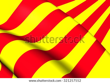 3D Flag of the Catalonia. Close Up. - stock photo