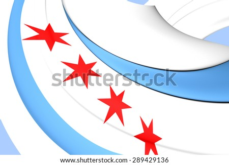 3D Flag of the Chicago, USA. Close Up.    - stock photo