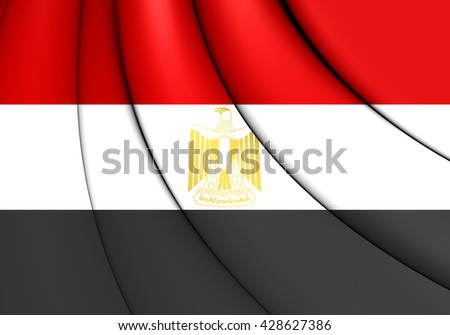 3D Flag of the Egypt. Close Up.   - stock photo