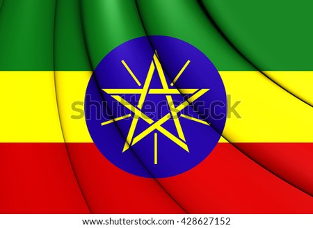 3D Flag of the Ethiopia. Close Up.