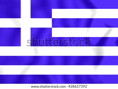 3D Flag of the Greece. Close Up.    - stock photo