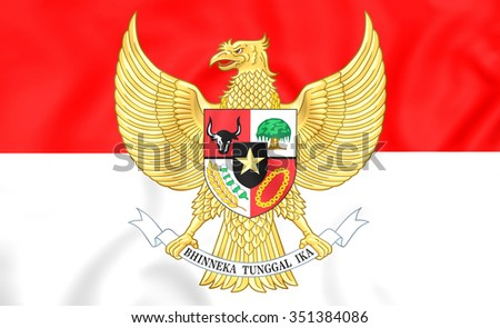 3D Flag of the Indonesia. Close Up.   - stock photo