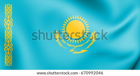 3D Flag of the Kazakhstan. 3D Illustration.