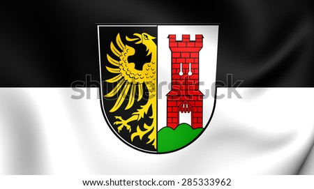 3D Flag of the Kempten, Germany. Close Up.    - stock photo