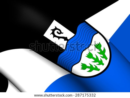 3D Flag of the Mitterteich, Germany. Close Up. - stock photo