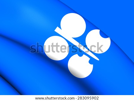 3D Flag of the OPEC. Close Up. - stock photo