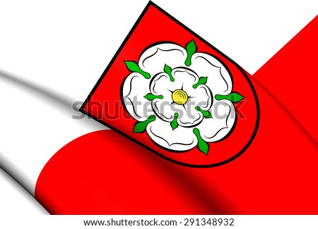 3D Flag of the Rosenheim, Germany. Close Up. - stock photo