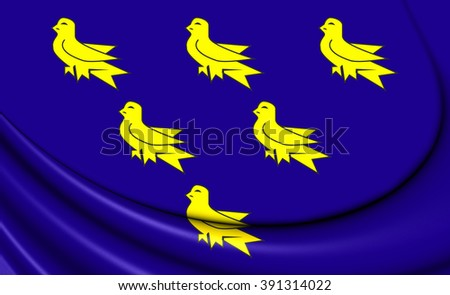 3D Flag of the Sussex. Close Up.    - stock photo