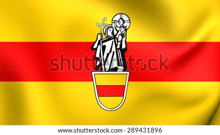 3D Flag of the Werne, Germany. Close Up.    - stock photo