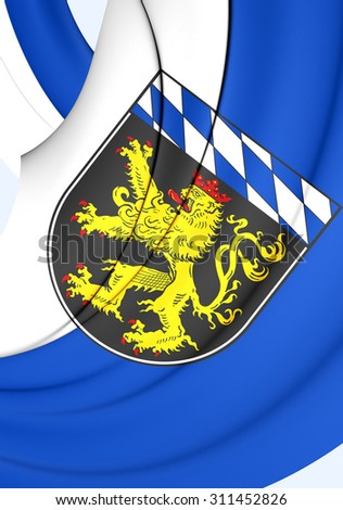 3D Flag of Upper Bavaria Region, Germany. Close Up.    - stock photo