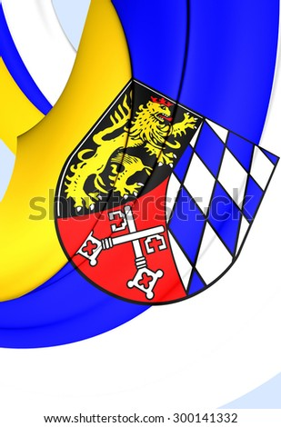 3D Flag of Upper Palatinate Region, Germany. Close Up.    - stock photo